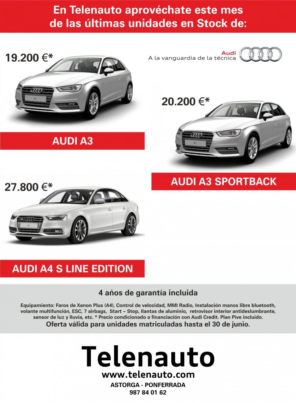 Audi A3, A3 sportback y A4 sline edition en stock