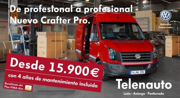 Vehículos Comerciales en León. Volkswagen Crafter desde 15.900 euros